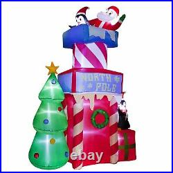 10Ft Santa Clause with Peguins on Christmas Castle with Christmas Tree Inflatable