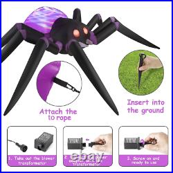 12ft Halloween Inflatables Giant Purple Spider with LEDs Inflatable Outdoor Decor