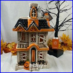 13th & Elm HUGE 17 Halloween Ceramic Spooky Led Light Up Haunted House Ghost