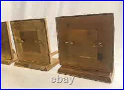 4 Vintage Brass Stocking Hangers Christmas Picture Frames
