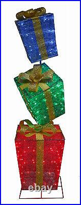56-522-087 LED Lighted Gift Box Christmas Decoration, Collapsible, 72-In, 150