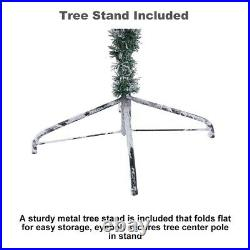 6FT Artificial Christmas Tree With Metal Foldable Stand Flocked white Christmas