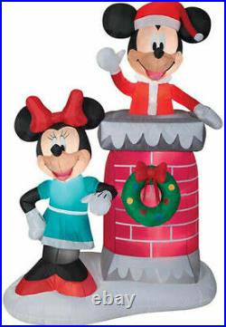 6.5 FT Disney Gemmy Christmas Mickey, Minnie Mouse Chimney Airblown Inflatable