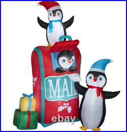 6.5' Self-Inflatable LED-Lighted Mailbox with Penguins Christmas Outdoor Decor