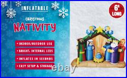 6 FT Inflatable Lighted Christmas Nativity Scene with Angels