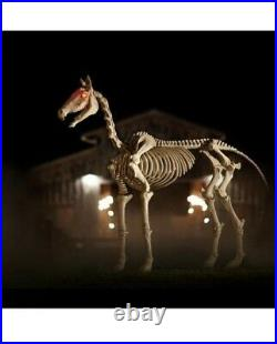 6ft Halloween Standing Skeleton Horse Ghostly Prop Decor Glowing Eyes 6 ft