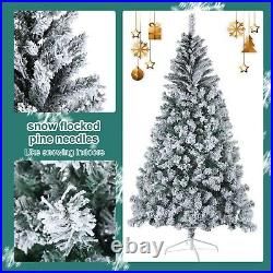 7.5FT Green Artificial Christmas Tree PVC With Metal Stand Xmas Bushy Pine Branch
