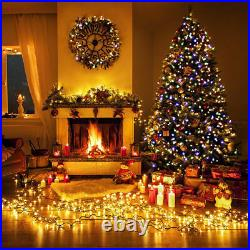 7.5Ft Pre-Lit Dense Christmas Tree Hinged with550 Multicolor Lights & Stand Green