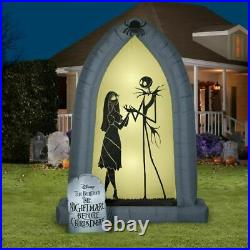 7' JACK SKELLINGTON & SALLY SILHOUETTE ARCH Airblown Inflatable NIGHTMARE BEFORE