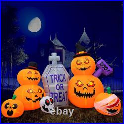 8 FT Halloween Inflatable Pumpkin Tombstone Pumpkins with LEDs Outdoor Decorations
