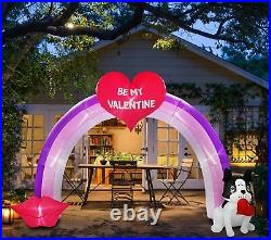 9 FT Valentines Day Heart, & Dog Archway Lighted Airblown Inflatable Yard Decor