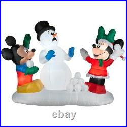 Airblown Inflatable 8ft Mickey and Minnie Snowball fight Brand New