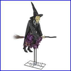 Animated Scary Eyes Flying Witch On Broom Motion Sensor Halloween Prop Decor