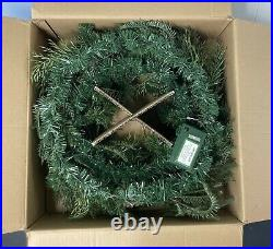 Balsam Hill Winter Evergreen Wreath 30 NEWithOpen box Clear LED Lights Natural