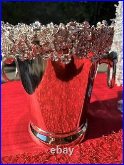 Champagne, Wine, Ice Bucket Silver Plated Elaborate Crystal Floral Rim -Weddings