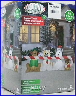 Christmas Gemmy 8 ft Doggies Puppies Treat Candy Cane Airblown Inflatable NIB