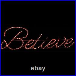 Christmas Light Display Believe Sign LED Yard Lawn Outdoor Wireframe Decoration