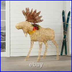 Christmas Moose Outdoor Yard Pre Lit Decor Decoration Clear Blinking Lights