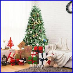 Costway 7ft Snow Flocked Artificial Christmas Tree with 1139 Glitter PE & PVC Tips