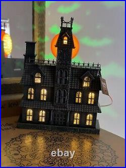 Cracker Barrel Halloween Haunted House withSound & Projection LED Color Change NIB