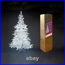 Frosted Christmas White Tree Pre-Lit LEDs Bavarian Office Home Decorations 5ft
