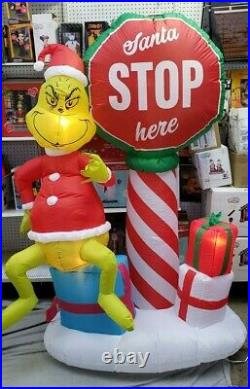 Gemmy 6ft Grinch with Santa Stop Here Sign Christmas Inflatable