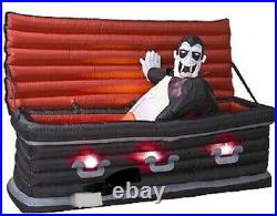HALLOWEEN 5 FT ANIMATED VAMPIRE RISING IN COFFIN Airblown Inflatable YARD DECOR