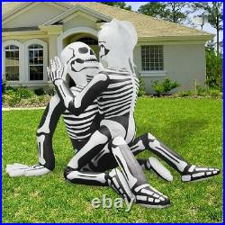Halloween Ghostly Skeleton Bride/groom Led Inflatable Airblown Grave Yard Decor