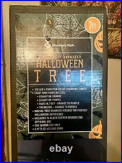 Makers Mark Halloween Animated moving twisting pre lit 7 ft black tree- New