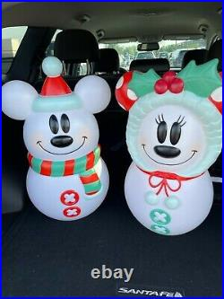 Mickey and Minnie Mouse Disney Blow Mold Snowman Lighted Christmas 23'' Tall