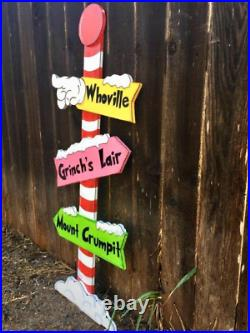 NEW GRINCH Whoville Sign Pole CHRISTMAS and Max the Reindeer Yard Art Decoration