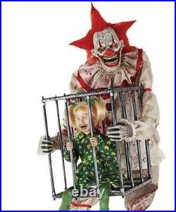 New 7Ft Animated CAGEY the CLOWN with Screaming Kid Creepy Circus Halloween Prop