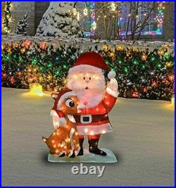 Outdoor 32-In Pre-Lit Santa and Rudolph Christmas Yard Art Decoration 70 Lights