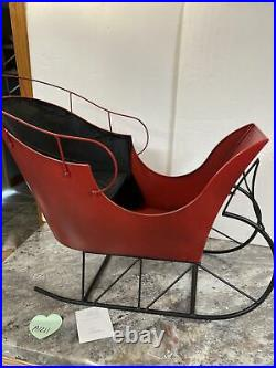 Rare Valerie Parr Hill 27 Oversized Metal Red Christmas Sleigh