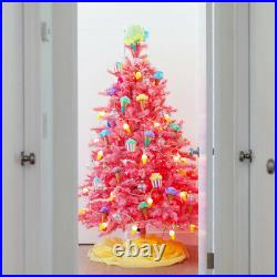 Treetopia Pink 6 Foot Prelit Artificial Tree with LED Lights and Stand(Open Box)
