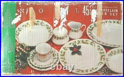 Vintage Christmas Holly Berry Fine China Pearl NOEL 44 Pieces- plate, dish, bowl