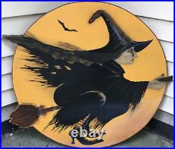 Vintage Halloween Flying Witch On A Broom Wooden Plaque Decor Over 3 Feet