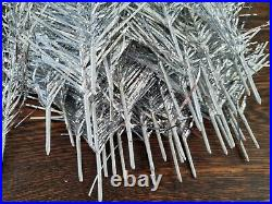 Vintage Silver Tinsel Feather Christmas Tree Wood Framed 122cm Boxed